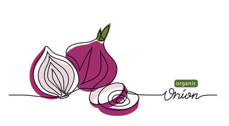 Red sweet onion vector sketch illustration, background. One line drawing art illustration with lettering organic onion.