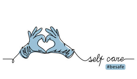 Self care concept during covid epidemic. Hands in protective gloves show love or heart sign. Vector illustration, one continuous line art drawing. Illusztráció