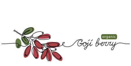 Goji berry branch vector illustration. Fresh ripe wolfberry sketch, background. One line drawing art illustration with lettering organic Goji berry