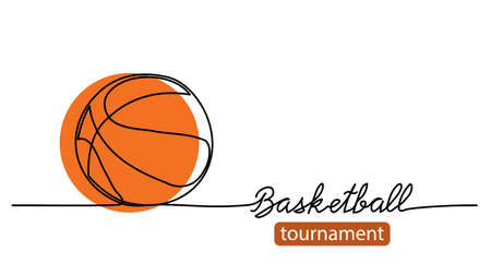 Basketball tournament simple vector background, banner, poster with orange ball sketch. One line drawing art illustration of basketball ball