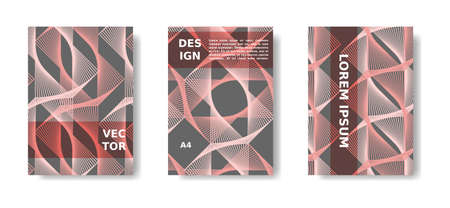 Minimal cover, poster set. Coral color and grey template. Vibrant cover design with lines. Vector A4 catalog,magazine background