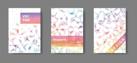 Annual report a4 vector set. Rainbow cover design with arabic mosaic. Disintegration geometric poster ,catalog,magazine, report modern set
