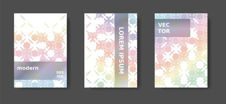 A4 rainbow title design with arabic mosaic. Disintegration geometric poster set. Vector A4 title,magazine, cover modern set Illusztráció