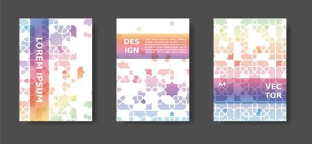 Rainbow abstract cover design with arabic color mosaic. Disintegration geometric poster set. Vector A4 catalog,magazine, cover modern set Illusztráció