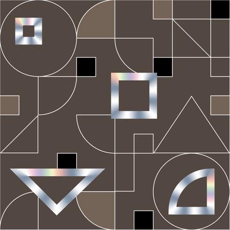 Geometric swiss modernism vector seamless pattern. Modern geometric texture with holographic shapes Illusztráció