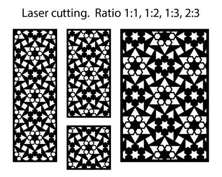 Cnc template set. Laser pattern. Set of geometric decorative vector panels, screens, dividers for laser cutting.