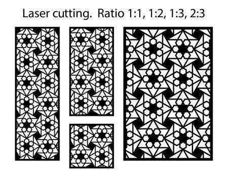 Jali decorative vector panels design. Cnc template set. Laser pattern. Set of geometric screens for laser cutting