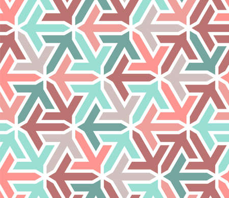 Geometric islamic pattern with arrows. Color geometric arabic vector texture for cloth, textile, wrapping, wallpaper