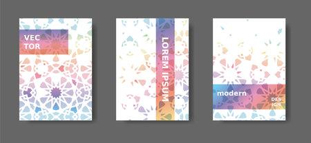 Rainbow geometric poster,catalog,magazine, report modern set. Vector A4 cover design with arabesque mosaic