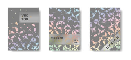 Modern holographic geometric poster set. Rainbow and grey cover, poster design. Islamic modern mosaic