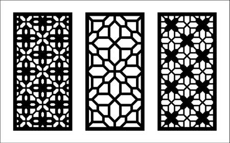 Laser pattern. Set of decorative vector panels, screens for laser cutting. Template pattern for interior partition in arabesque style. Ratio 1 to 2.
