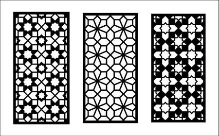 Cnc laser pattern. Set of decorative vector panels,screen for laser cutting. Cnc template for room divider in arabic style. Ratio 1 to 2.