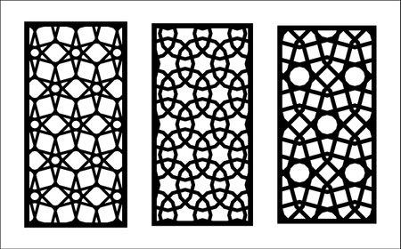 Cnc decorative lazer pattern. Set of decorative vector panels for lazer cutting. Cnc template for interior partition in arabesque style. Ratio 1 to 2. Illusztráció