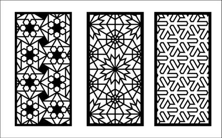 Laser arabesque jali pattern. Set of decorative vector panels for laser cutting. Template for interior partition in arabesque style. Ratio 1 to 2.