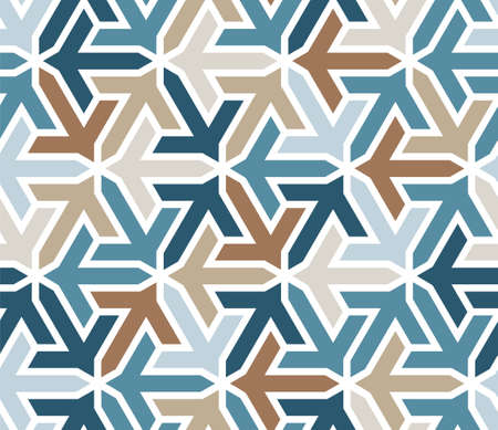 Geometric islamic pattern with arrows. Color geometric arabic vector texture for cloth, textile, wrapping, wallpaper.