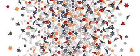 Mosaic pattern vector border. Geometric halftone texture with color tile mosaic disintegration.