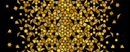 Luxury and rich arabic pattern, gold and black. Vector random mosaic . Arabesque vector seamless pattern. Geometric halftone texture with color tile disintegration.