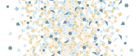 Pastel blue arabesque vector seamless background. Geometric halftone texture with color tile disintegration Illusztráció