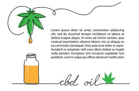 Cbd oil drop, bottle, hemp or cannabis leaf. One line vector illustration. Oil with cannabidiol background.