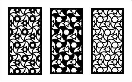 Jali laser pattern design. Set of decorative vector panels for laser cutting. Jali template for interior partition in islamic arabic style. Ratio 1 to 2.