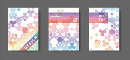 Arabic modern poster set. Rainbow geometric poster,catalog,magazine, report modern set. Vector A4 cover design with arabic mosaic