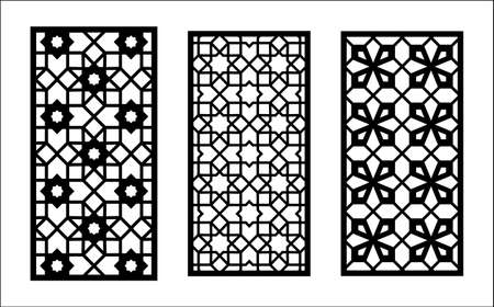 Islamic laser pattern. Set of decorative vector panels for laser cutting. Islamic template for interior partition in arabesque style.