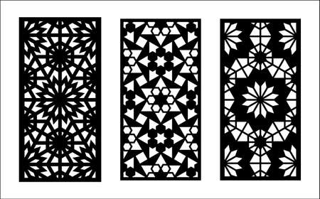 Morocco laser cut pattern. Set of decorative vector panels for laser cutting. Template for interior partition in morocco style. Ratio 1 to 2.