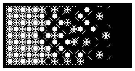 Islamic laser pattern. Decorative vector panel for laser cutting. Islamic template for interior partition, room divider in arabesque style. Ratio 1 to 2.