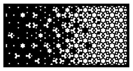 Arabic laser pattern. Decorative vector panel,screen,sheet,partition,divider for laser cutting with disintegration. Arabic template for cut design. Ratio 1 to 2.