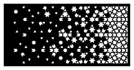 Cnc arabesque laser pattern. Decorative vector panel for laser cutting. Arabesque cnc template for indoor and outdoor panel. Ratio 1 to 2.