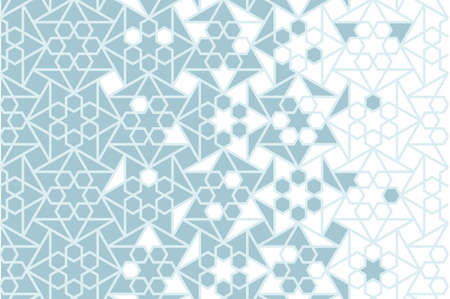 Arabesque vector seamless pattern. Geometric halftone texture with blue tile or mosaic disintegration