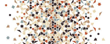 Arabesque vector color mix pattern. Geometric halftone texture with color tile and mosaic disintegration Illusztráció