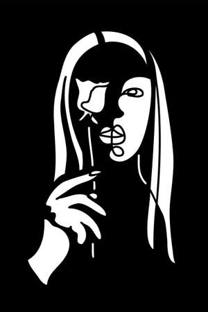 Girl, woman face laser cutting, cnc panel, screen, stencil pattern. Contemporary portrait, surreal face. Modern cnc pattern for decor Illusztráció