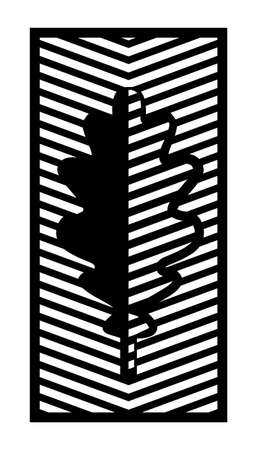 Oak leaf cnc pattern. Decorative panel, screen,wall. Vector leaf cnc panel for laser cutting. Template for interior partition, room divider, privacy fence Illusztráció