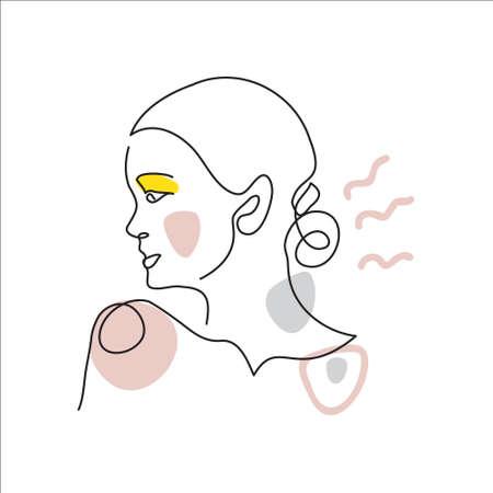 Girl face line art. Contemporary portrait, surreal face, vector illustration. Modern line art pattern of woman for decor