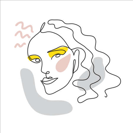 Face line art, one continuous line drawing portrait. Surreal face, vector illustration. Modern lineart pattern of woman for decor
