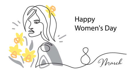 Happy Womens Day card. March 8 holiday banner with girl and narcissus. Face line art, one continuous line drawing portrait. Surreal face, vector illustration in grey and yellow colors Illusztráció