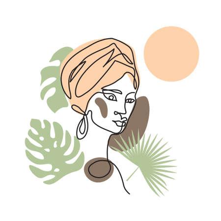 Black afro woman in turban. Face line art vector portrait with palm tree and sun Illusztráció