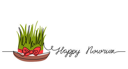 Happy Nowruz simple background, poster, banner with green wheat grass and red ribbon. One continuous line drawing, single lineart. Persian New Year greating, lettering Happy Nowruz
