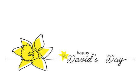 Saint David s day feast simple vector banner, poster, background. One continuous line drawing of narcissus with lettering Davids day