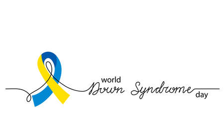 World Down Syndrome Day simple vector background, banner, poster with yellow and blue ribbon symbol. Lettering Down Syndrome Illusztráció