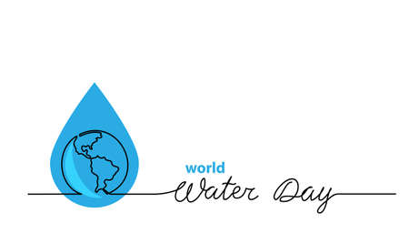 World water day vector one line illustration with aqua drop and planet. Minimal background, banner, poster with lettering Water Day