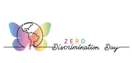 Zero Discrimination Day simple vector banner, poster, background with rainbow butterfly and planet, globe. Lettering Zero Discrimination Illusztráció