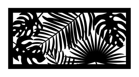 Cnc pattern with palm leaves. Decorative panel, screen,wall. Vector jungle leaves, exotic monstera cnc panel for laser cutting. Template for interior partition, room divider, privacy fence Illusztráció