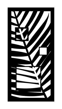 Cnc pattern with palm leaf decor. Decorative panel, screen,wall. Vector palm branch cnc panel for laser cutting. Template for interior partition, room divider, privacy fence