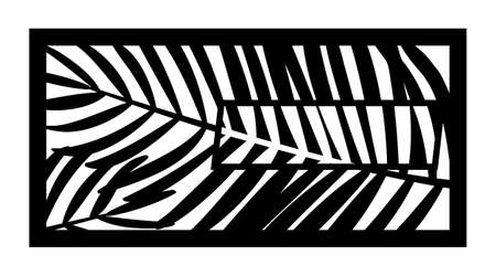 Tropical palm leaf laser cut pattern. Decorative panel, screen,wall. Vector tropical leaves cnc panel for laser cutting. Template for interior partition, room divider, privacy fence