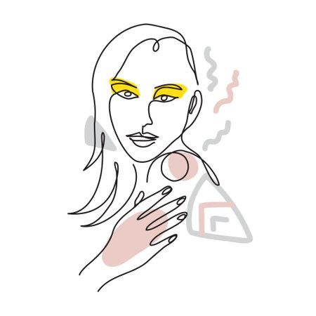 Woman face line art, beauty spa concept. One continuous line drawing portrait. Surreal face, vector illustration. Modern lineart pattern of woman for decor Illusztráció