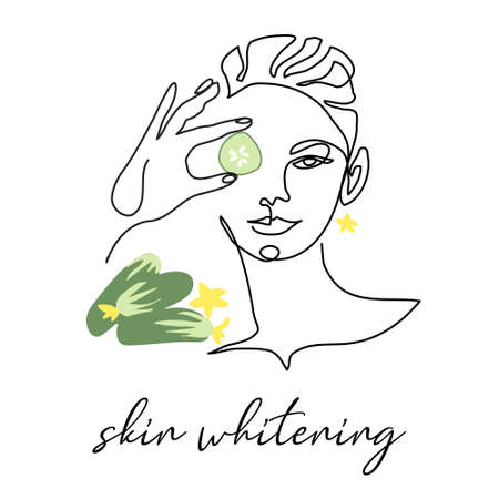 Skin whitening with cucumber, facial cosmetic vector illustration. Face line art portrait of beautiful woman