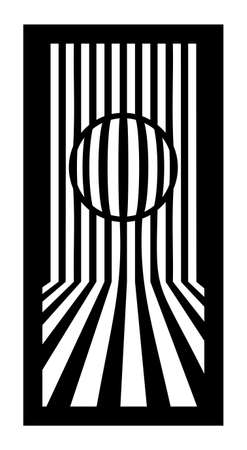 Cnc pattern, op art with lines and circle. Decorative panel, screen,wall. Vector cnc panel for laser cutting. Template for interior partition, room divider, privacy fence