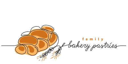 Bakery pastries vector sign, banner, poster, background. One continuous line drawing of bun bread with lettering family bakery pastries